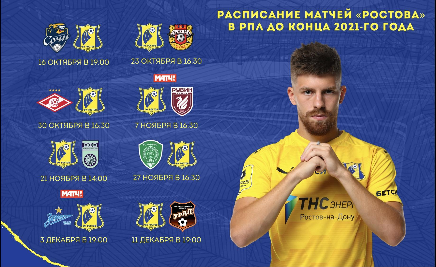 Матчи «Ростова» в 11 – 18 турах РПЛ
